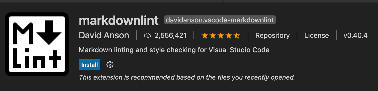 image shows markdownlint extension for vs code