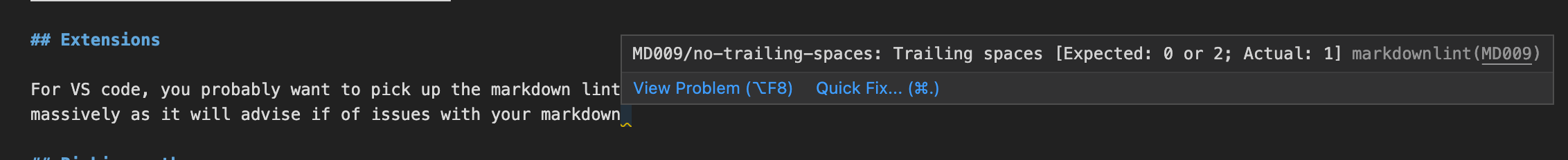 image shows a message explaining that the text block ends with a space