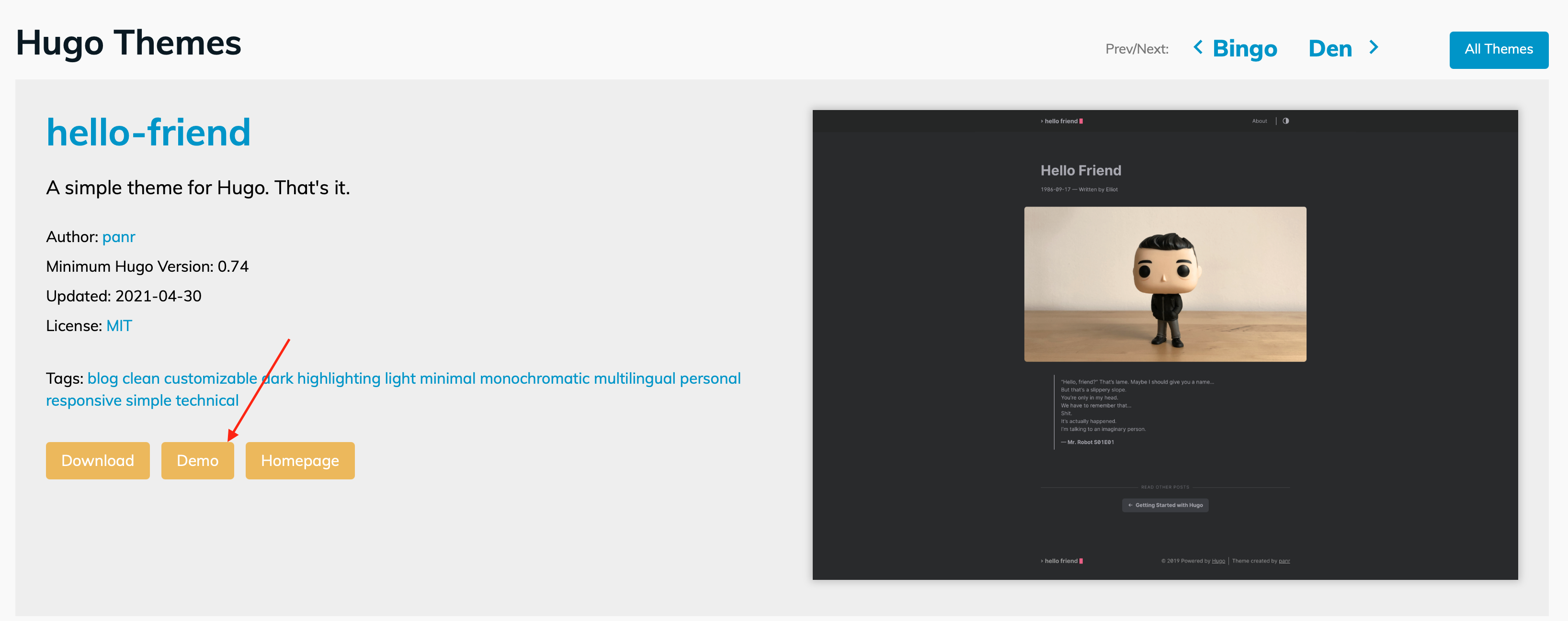 image shows option to see the demo site