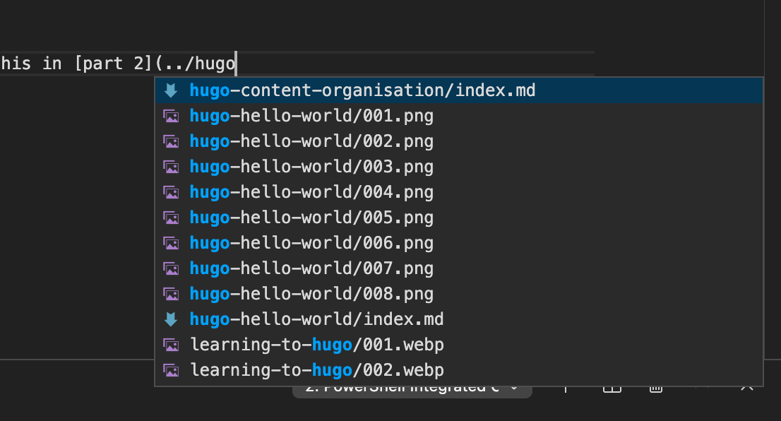 image shows the markdown all in one extension presenting the file system as you type a file path